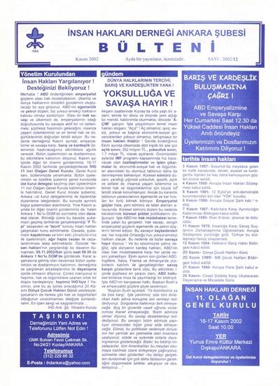 Special Issue by IHD Ankara Branch- November 2002